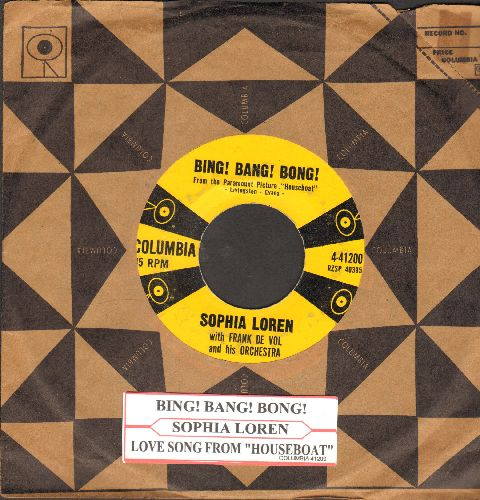 Loren, Sophia - Bing! Bang! Bong!/Love Theme From Houseboat (with juke box label and vintage Columbia company sleeve) - VG7/ - 45 rpm Records