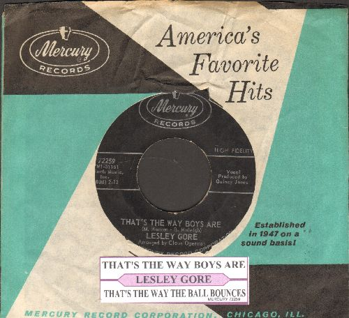 Gore, Lesley - That's The Way Boys Are/That's The Way The Ball Bounces (with juke box label and vintage Mercury company sleeve) - VG7/ - 45 rpm Records