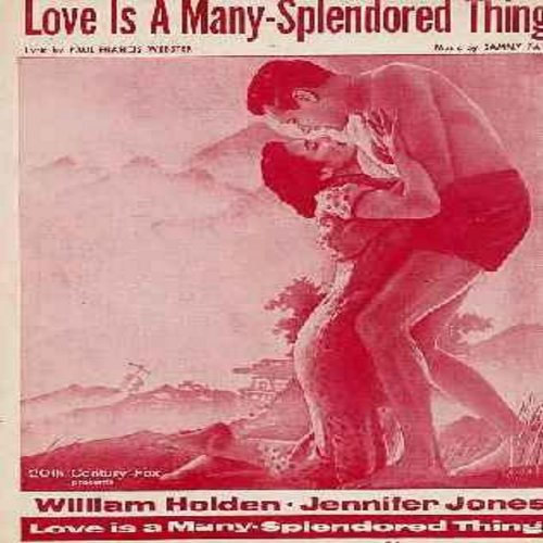 Holden, William, Jennifer Jones - Love Is A Many-Splendored Thing - Vintage SHEET MUSIC for the love theme from film of same title. NICE cover art featuring stars Jennifer Jones and William Holden! - EX8/ - Sheet Music