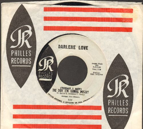 Love, Darlene - (Today I Met) The Boy I'm Gonna Marry/Playing For Keeps (light blue label early pressing with RARE vintage Philles company sleeve) - VG7/ - 45 rpm Records