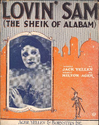 Englin, Maureen - Lovin' Sam (The Sheik Of Alabam) - RARE Vintage 1922 SHEET MUSIC for tha Jazz Classic. NICE portrait of singer Maureen Englin! - VG7/ - Sheet Music