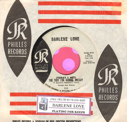 Love, Darlene - (Today I Met) The Boy I'm Gonna Marry/Playing For Keeps (light blue label early pressing with RARE Philles company sleeve and juke box label) - EX8/ - 45 rpm Records