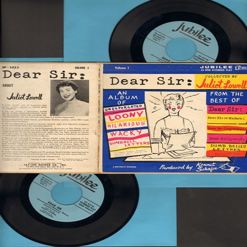 Lowell, Juliet - Dear Sir: An album of unexpurcated looney, hilarious, wacky, dumbell letters, collected by Juliet Lowell (2 vinyl EP record set in gate-fold picture cover) - EX8/EX8 - 45 rpm Records