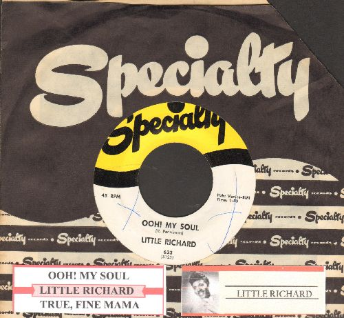 Little Richard - Ooh! My Soul/True, Fine Mama (first pressing with juke box label and Specialty company sleeve) - NM9/ - 45 rpm Records