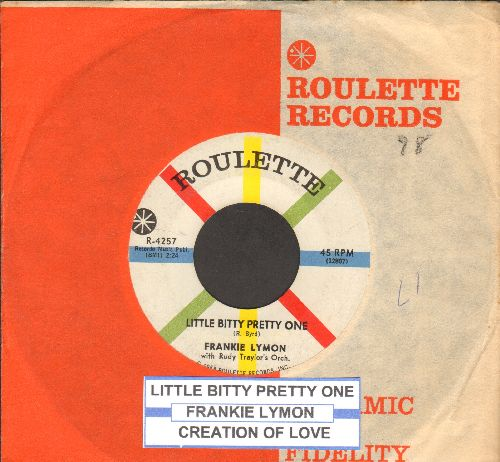 Lymon, Frankie - Little Bitty Pretty One/Creation Of Love (with juke box label and company sleeve) - EX8/ - 45 rpm Records