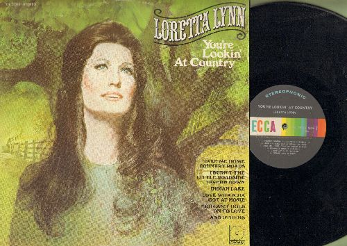 Lynn, Loretta - You're Lookin' At Country: Indian Lake, Take Me Home Country Roads, Kinfolks Holler, I'd Rather Be Sorry (Vinyl STEREO LP record) - NM9/VG7 - LP Records