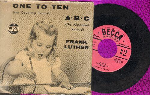 Luther, Frank - One To Ten (the Counting Record)/A-B-C (the Alphabet Record) (pink label with RARE picture sleeve) - EX8/VG7 - 45 rpm Records