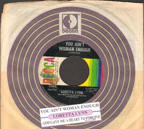 Lynn, Loretta - You Ain't Woman Enough/God Gave Me A Heart To Forgive (with juke box label and company sleeve) - NM9/ - 45 rpm Records