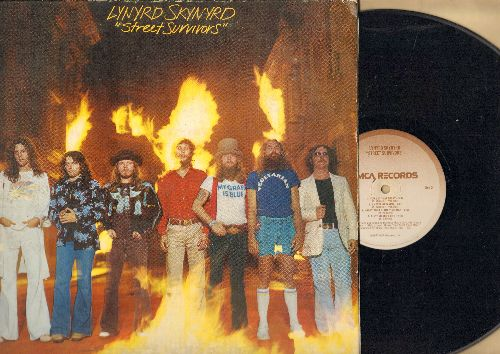 Lynyrd Skynyrd - Street Survivors: What's Your Name, I Know A Little, One More Time, You Got That Right, Ain't No Good Life (vinyl LP record, gate-fold cover, RARE flames cover picture) - VG7/VG7 - LP Records