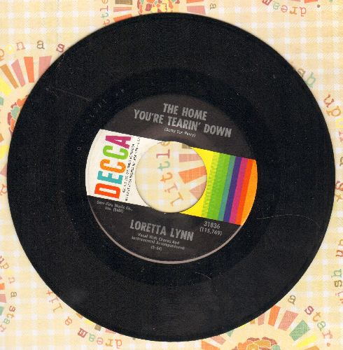 Lynn, Loretta - The Home You're Tearin' Down/Farther To Go  - NM9/ - 45 rpm Records