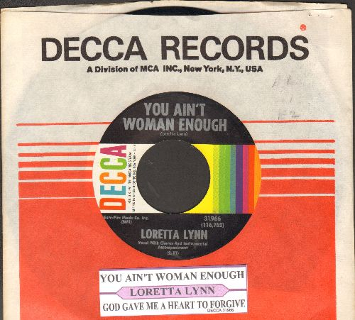Lynn, Loretta - You Ain't Woman Enough/God Gave Me A Heart To Forgive (with juke box labl and Decca company sleeve) - NM9/ - 45 rpm Records