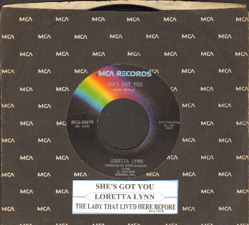 Lynn, Loretta - She's Got You/The Lady That Lived Here Before (with juke box label and MCA company sleeve) - EX8/ - 45 rpm Records