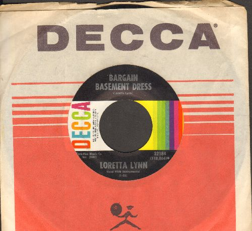 Lynn, Loretta - Bargain Basement Dress/What Kind Of A Girl (with vintage Decca company sleeve) - NM9/ - 45 rpm Records
