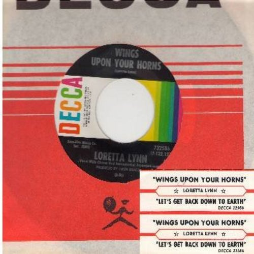 Lynn, Loretta - Wings Upon Your Horns/Let's Get Back Down To earth (with Decca company sleeve and juke box label) - NM9/ - 45 rpm Records