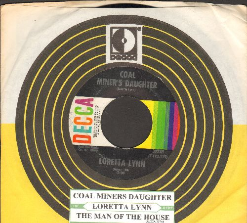 Lynn, Loretta - Coal Miner's Daughter/The Man Of The House (with juke box label and vintage Decca company sleeve) - EX8/ - 45 rpm Records