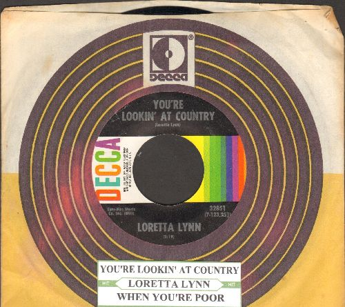 Lynn, Loretta - You're Lookin' At Country/When You're Poor (with juke box label and Decca company sleeve) - NM9/ - 45 rpm Records