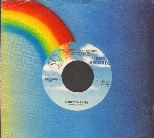 Lynn, Loretta - Don't Come Home A Drinkin'/Fist City (double-hit re-issue with MCA company sleeve) - VG7/ - 45 rpm Records