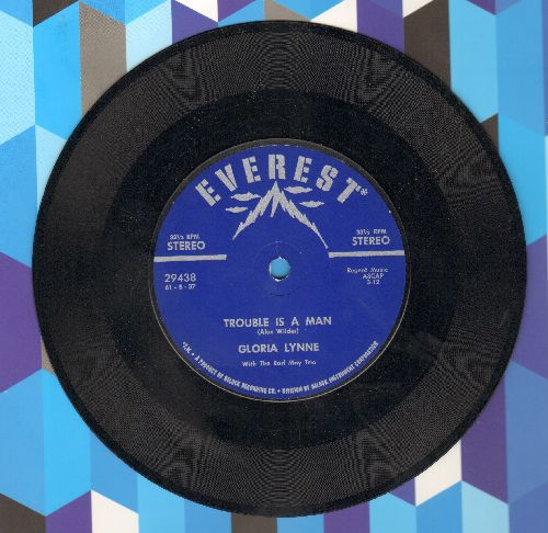 Lynne, Gloria - Trouble Is A Man/I See Your Face Before Me (RARE 7 inch 33rpm STEREO record, small spindle hole) - NM9/ - 45 rpm Records