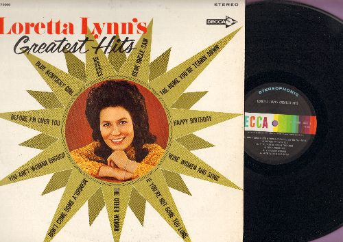 Lynn, Loretta - Loretta Lynn's Greatest Hits: You Ain't Woman Enough, Don't Come Home A Drinkin', Uncle Sam, Happy Birthday (Vinyl STEREO LP record) - EX8/VG7 - LP Records