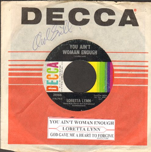 Lynn, Loretta - You Ain't Woman Enough/God Gave Me A Heart To Forgive (with juke box label and Decca company sleeve) - EX8/ - 45 rpm Records