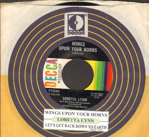 Lynn, Loretta - Wings Upon Your Horns/Let's Get Back Down To Earth (with juke box labl and Decca company sleeve) - NM9/ - 45 rpm Records