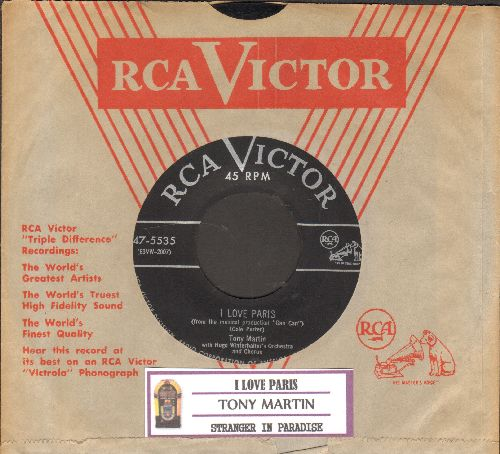 Martin, Tony - I Love Paris/Stranger In Paradise (with juke box label and vintage RCA company sleeve) - EX8/ - 45 rpm Records