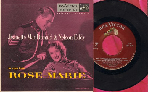MacDonald, Jeanette & Nelson Eddy - Songs from Rose-Marie: Indian Love Call/Ah! Sweet Mystery Of Life/Rose-Marie/The Mounties (vinyl EP record with picture cover) - NM9/NM9 - 45 rpm Records