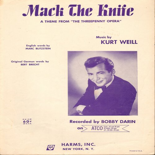 Darin, Bobby - Mack The Knife - SHEET MUSIC for the -Three Penny Opera- Classic, made popular again in 1959 by Bobby Darin  (This is SHEET MUSIC, not any other kind of media!)  - EX8/ - Sheet Music