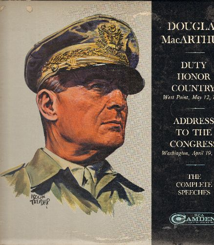 MacArthur, Douglas - Duty Hornor Country (West Point, May 12, 1962)/Address To Congress (Washington, April 19, 1951) - The Complete Speeches on 2 vinyl LP records, gate-fold cover. - NM9/EX8 - LP Records