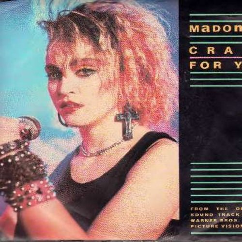 Madonna - Crazy For You/No More Words (by Berlin on flip-side) (with picture sleeve) - NM9/EX8 - 45 rpm Records