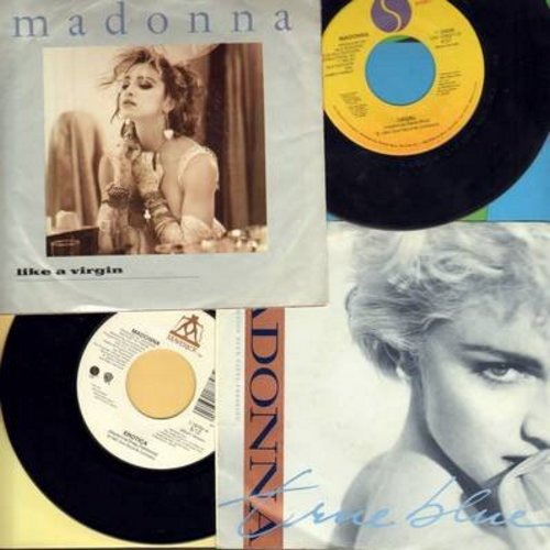Madonna - Madonna 45s - 4 pack of Madonna Hit 45s. Titles include True Blue (with picture sleeve), Erotica, Like A Virgin (with picture sleeve) and Angel. All 45s and the 2 picture sleeves are in excellent or better condition. A Great set for a Madonna Fa