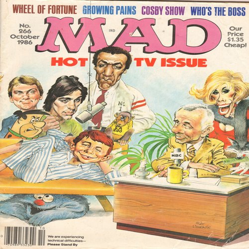 Mad Magazine - Mad Magazine Hot TV Issue (No. 266 Oct. 1986) - Includes Parody of Cosby Show, TV Themes, Wheel Of Fortune, MORE! (Highly Collectible CLASSIC!) - VG7/ - Mad Magazine