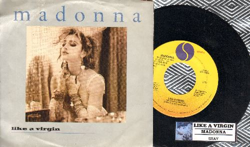 Madonna - Like A Virgin/Stay (with juke box label and picture sleeve) - NM9/EX8 - 45 rpm Records