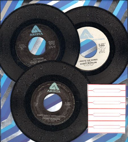 Manilow, Barry - 3-Pack of first issue 45s. Hits include I Write The Songs, Daybreak and Can't Smile Without You (shipped in plain paper sleeves with 4 blank company sleeve) - NM9/ - 45 rpm Records