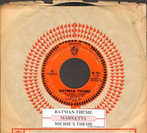 Marketts - Batman Theme/Richie's Theme (with juke box label and vintage Warner Brothers company sleeve) - VG7/ - 45 rpm Records