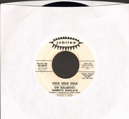 Malmkvist, Siw & Umberto Maracto - Sole Sole Sole/Sabato Sera (US DJ advance pressing, sung in Italian, artist's name misspelled -MAKMKVIST- on label) - NM9/ - 45 rpm Records