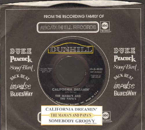 Mamas & Papas - California Dreamin'/Somebody Groovy (with juke box label and company sleeve) - VG7/ - 45 rpm Records