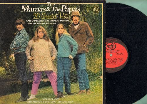Mamas & Papas - 20 Greatest Hits: California Dreamin', You Baby, My Girl, Monday Monday, Do You Wanna Dance, Creeque Alley, Twist And Shout (vinyl STEREO LP record, British Pressing) - NM9/NM9 - LP Records