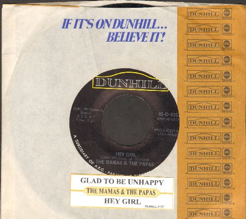 Mamas & Papas - Hey Girl/Glad To Be Unhappy (with juke box label and company sleeve) - EX8/ - 45 rpm Records