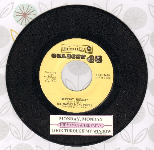 Mamas & Papas - Monday, Monday/Look Through My Window (authentic-looking double-hit re-issue with juke box label) - NM9/ - 45 rpm Records