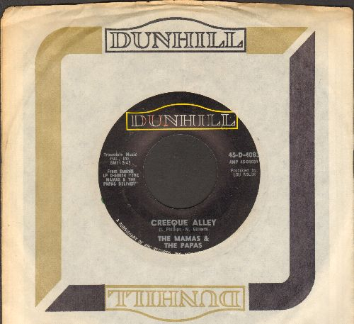 Mamas & Papas - Creeque Alley (Everybody's Getting' Fat But Mama Cass)/Did You Ever Want To Cry (with Dunhill company sleeve) - VG7/ - 45 rpm Records
