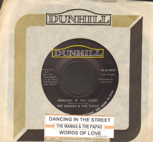 Mamas & Papas - Dancing In The Street/Words Of Love (with Dunhill company sleeve and juke box label) - NM9/ - 45 rpm Records