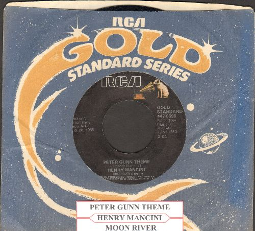 Mancini, Henry - Peter Gunn Theme/Moon River (double-hit re-issue with juke box label and RCA company sleeve) - NM9/ - 45 rpm Records