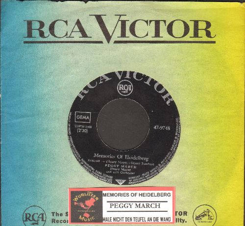 March, Peggy - Memories Of Heidelberg/Male nicht den Teufel an die Wand (German pressing, sung in German, with vintage RCA company sleeve) - NM9/ - 45 rpm Records