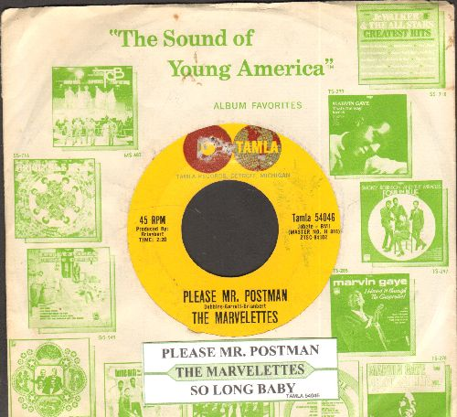 Marvelettes - Please Mr. Postman/So Long Baby (with juke box label and company sleeve)  - EX8/ - 45 rpm Records