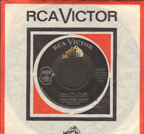 March, Little Peggy - I Will Follow Him (featured in film -Sister Act-)/Wind-Up Doll (with RCA company sleeve and juke box label) - NM9/ - 45 rpm Records