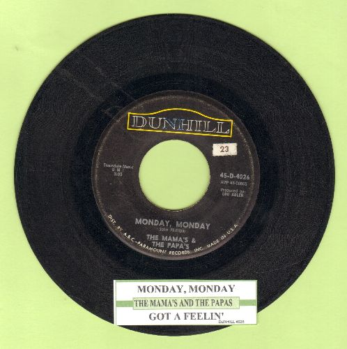 Mamas & Papas - Monday, Monday/Got A Feelin' (with juke box label) - VG7/ - 45 rpm Records