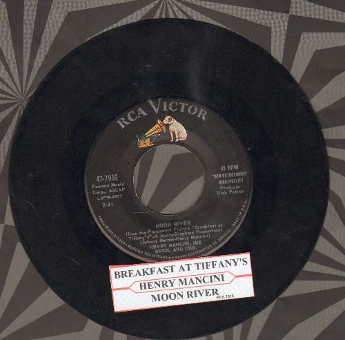 Mancini, Henry & His Orchestra - Moon River/Breakfast At Tiffany's (with juke box label) - VG7/ - 45 rpm Records