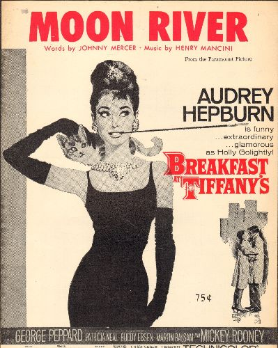 Mancini, Henry & His Orchestra - Moon River - SHEET MUSIC for the popular Movie Theme, VERY NICE cover art of star Audrey Hepburn! - NM9/ - 45 rpm Records