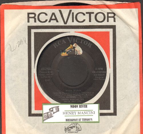 Mancini, Henry & His Orchestra - Moon River/Breakfast At Tiffany's (with juke box label and RCA company sleeve) - EX8/ - 45 rpm Records